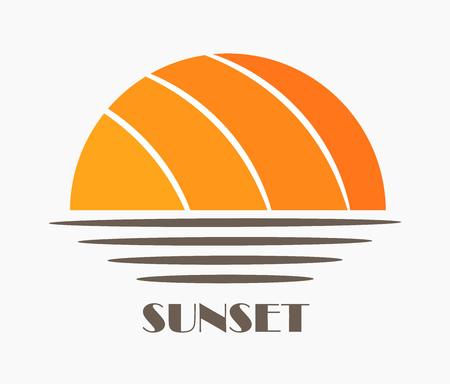 Sun and sea sunset icon. Vector illustration.