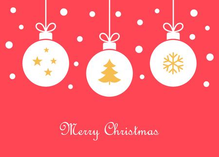 Christmas balls ornaments greeting card. Vector illustration.