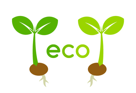 Two eco plant seedlings icons. Vector illustration.