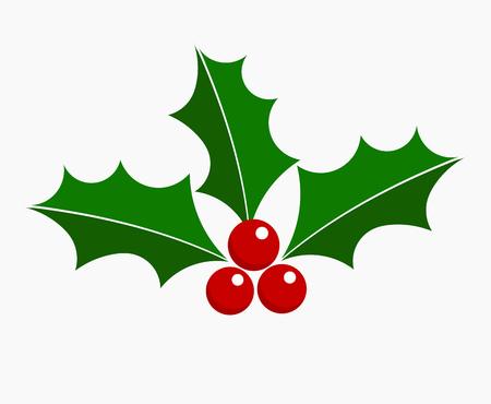 Icono de Navidad de baya de acebo. Elemento de diseño. Ilustración de vector