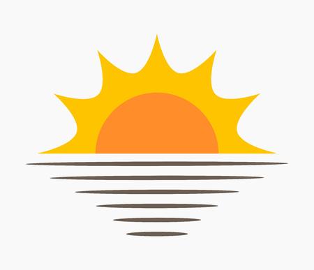 Sun and sea icon. Sunset vector illustration. Ilustração