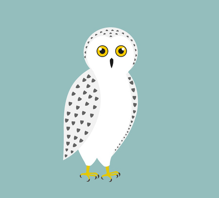 Cute white snowy owl. Vector illustration.