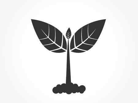 Little plant germinating from soil black icon. Vector illustration.
