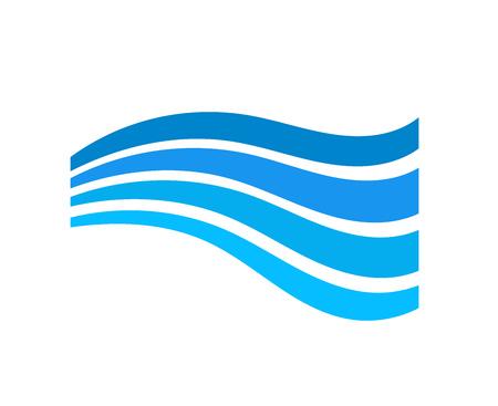 Blue water wave symbol. Vector illustration.