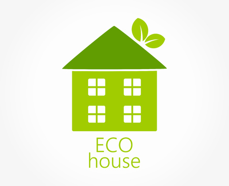 Eco friendly green house icon. Vector illustration.