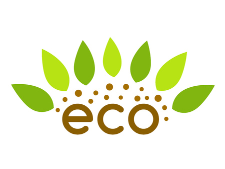 Eco plant leaves and soil symbol. Vector illustration.
