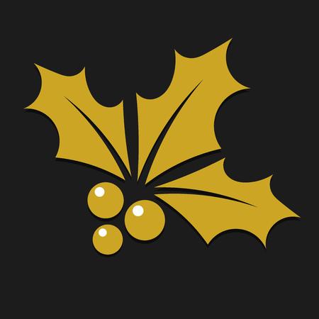 Gold holly leaves Christmas icon on black background. Vector illustration. Ilustração