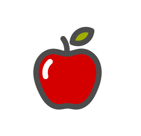 Red apple fruit icon. Vector illustration.