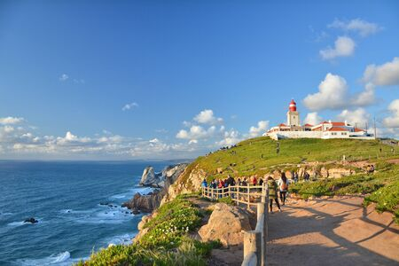 Cabo da Roca cape in Portugal, most western point of continental Europe. Imagens