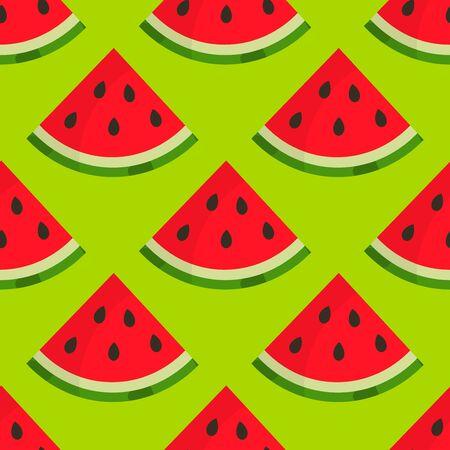 Watermelon slices summer green seamless pattern. Vector illustration. Ilustração