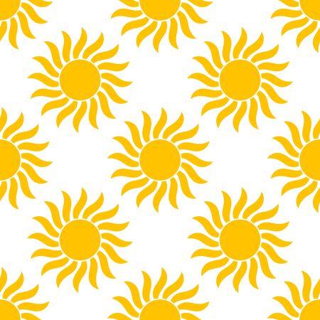 Yellow sun summer seamless pattern. Vector illustration.