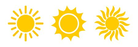 Sun symbol icon set. Vector illustration.