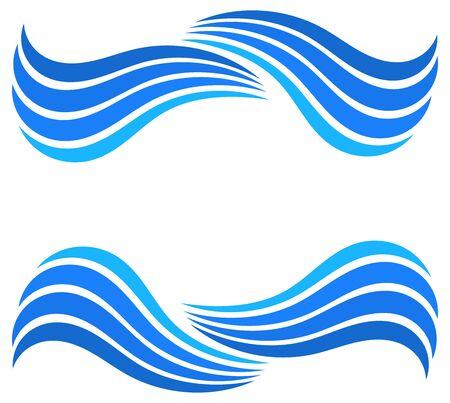 Blue water wave border background. Vector illustration