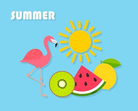 Colorful sunny summer symbols on blue background. Fresh fruits, sun and flamingo. Иллюстрация