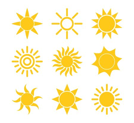 Sun icon set, flat design elements. Vector illustration.
