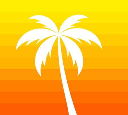 Palm tree on orange background. Hot summer vector illustration. Illustration