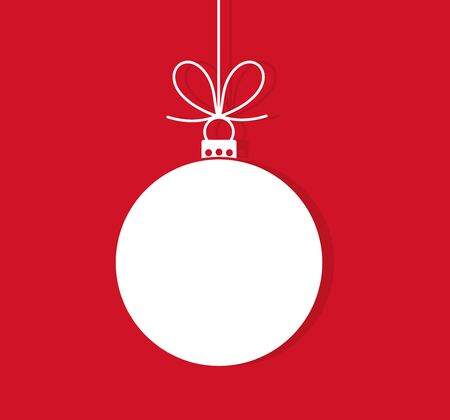Christmas ball hanging ornament on red background. Vector illustration.