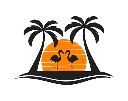 Palm trees, two flamingos and sun setting over island. Vector illustration