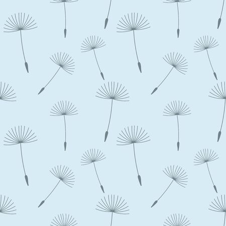 Dandelion seeds seamless blue pattern. Vector illustration. Stock Illustratie