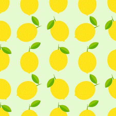 Summer lemon and leaves seamless pattern. Vector illustration Vetores