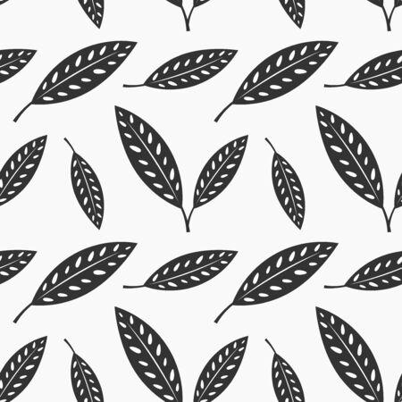 Black and white leaves seamless pattern. Vector illustration.