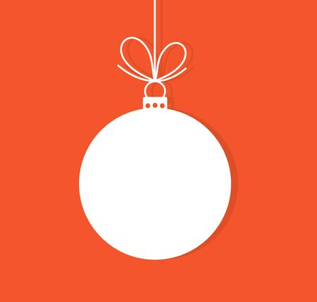 Christmas bauble ornament on red background. Vector illustration Stok Fotoğraf - 129992843