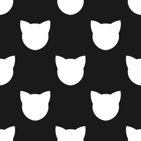 Cat faces seamless black and white pattern. Vector illustration. Standard-Bild - 129992845