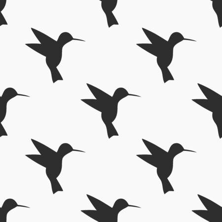 Black and white hummingbird seamless pattern. Vector illustration.