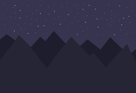 Night landscape of mountains with sky full of stars. Vector illustration.