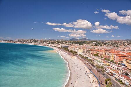 Nice, French Riviera Cote d'Azur in Provence, France. Landscape view of coastline.