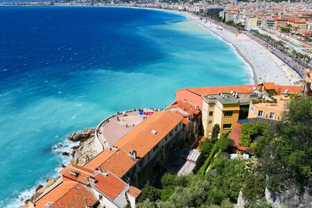 NICE, FRANCE - 29 APRIL, 2019: Nice, French Riviera Cote d'Azur in Provence, France. Landscape view of city and coastline.