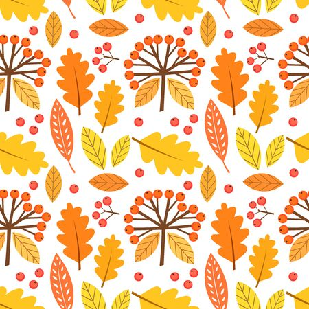 Autumn leaves and berries seamless pattern. Vector illustration.
