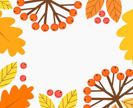 Autumn frame of leaves and berries background. Vector illustration.