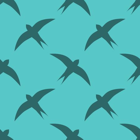 Swallow birds seamless blue pattern. Vector illustration.