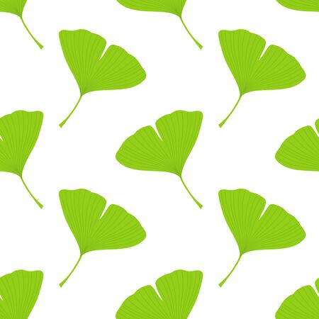 Ginkgo biloba leaves seamless pattern. Vector illustration.