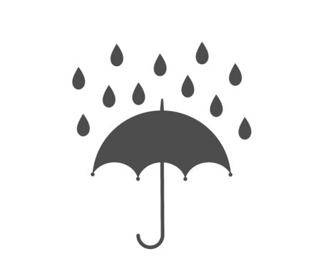 Umbrella and rain icon. Vector illustration.