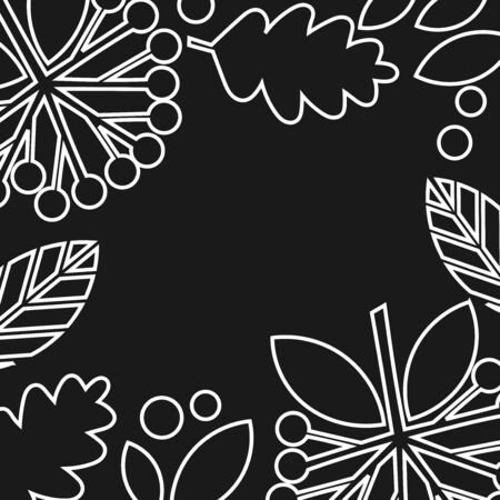 Autumn leaves white outline shapes on black background. Vector illustration.