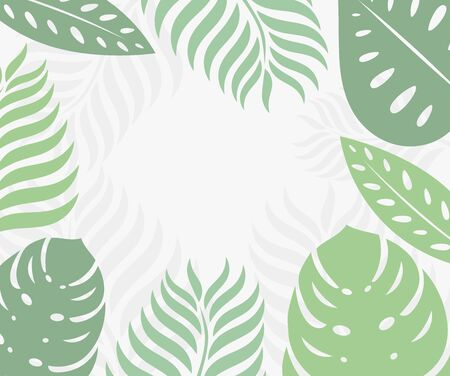 Tropical leaves border. Vector illustration.