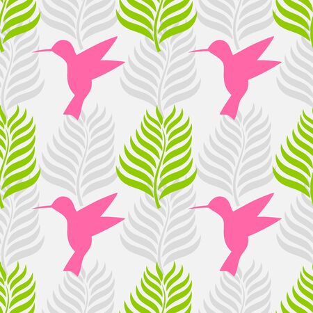 Tropical leaves and hummingbird seamless pattern. Vector illustration.