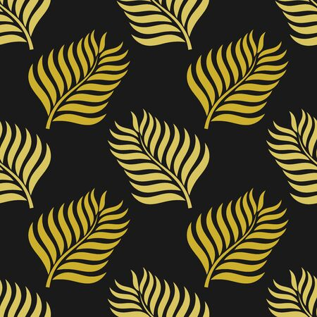Golden palm leaves seamless pattern. Vector illustration.