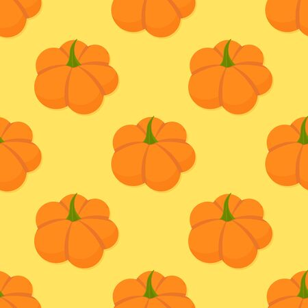 Orange pumpkins seamless pattern. Vector illustration.