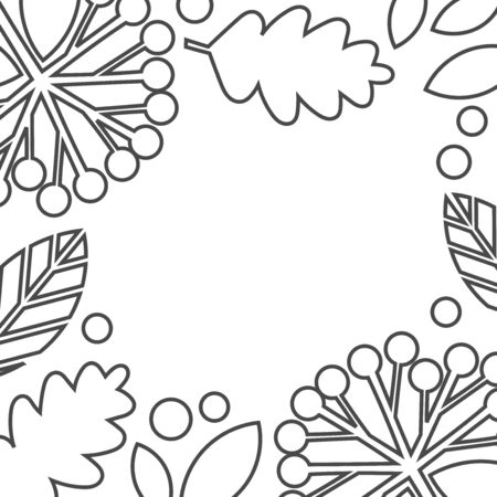 Autumn leaves black outline shapes on white background. Vector illustration.