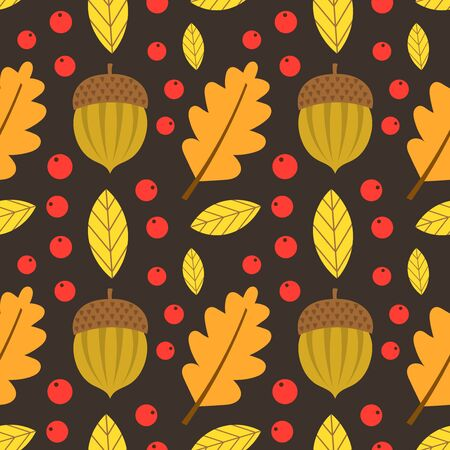 Autumn leaves, acorns and berries seamless pattern. Vector illustration.