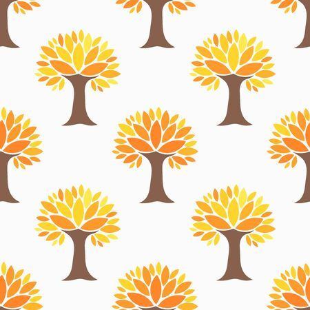 Autumn trees seamless pattern. Vector illustration.