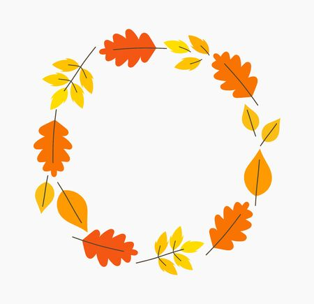 Autumn leaves circle border. Vector illustration. Ilustracja