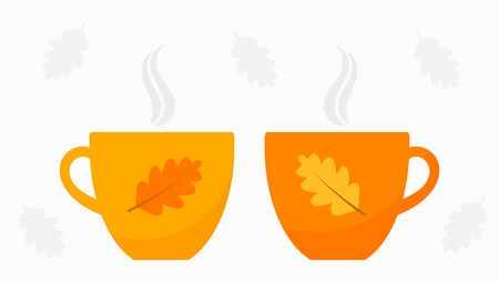 Autumn orange two cups of tea or coffee. Vector illustration.