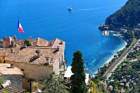 Eze, medieval town in Cote d'Azur, France. View of the coast from the top of the village.