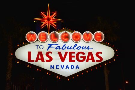 Welcome to Fabulous Las Vegas, Nevada sign on the Strip. Stock Photo
