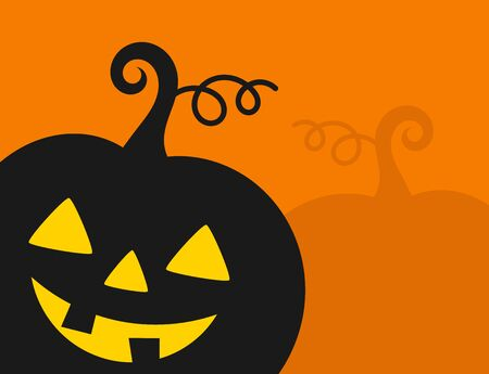 Halloween pumpkin lantern on orange background. Halloween party invitation. Vector illustration.  イラスト・ベクター素材