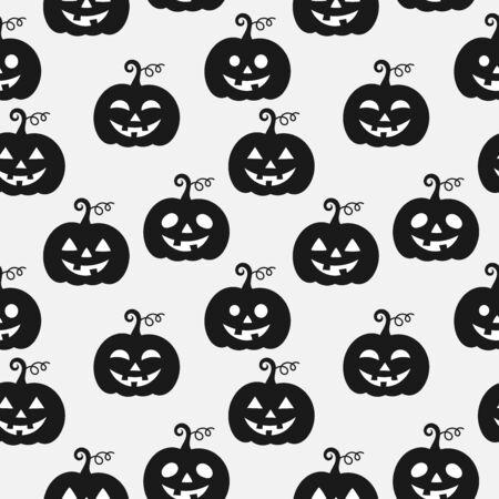Calabazas de halloween en blanco y negro de patrones sin fisuras. Ilustración vectorial
